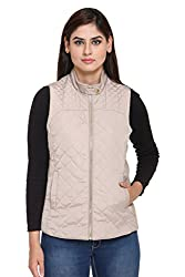 Trufit Sleeveless Solid Womens Fawn Hooded Quilted Polyester Jacket