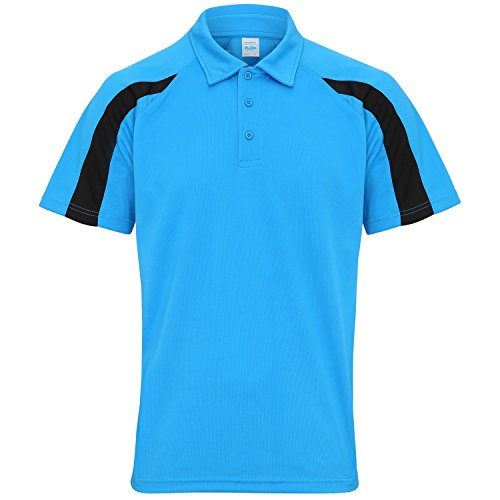 AWDis Just Cool Herren Kurzarm Polo Shirt mit Kontrast Panel Saphir Blau/Jet Schwarz
