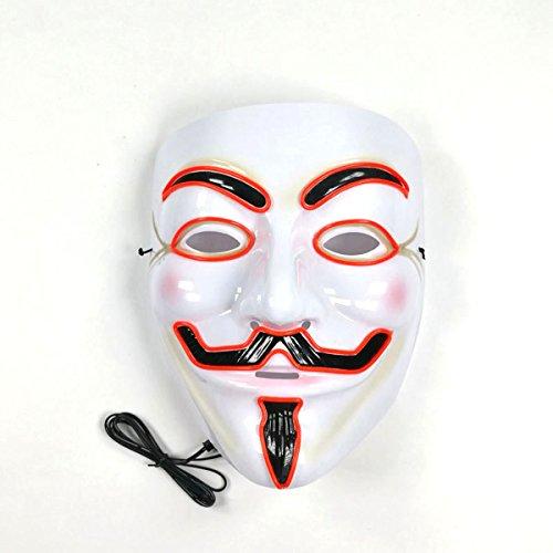 v für vendetta - maske anonymous - maske hat guy - fawkes halloween licht unisex - maske 8 farben mit el glühenden draht (red) (V Vendetta Maske)