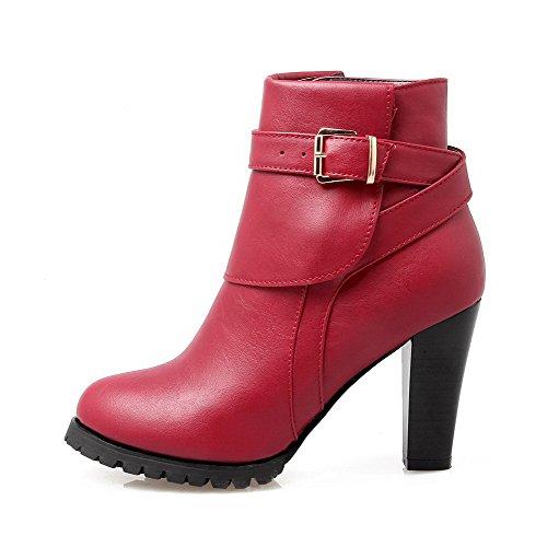 VogueZone009 Damen Rein PU Leder Hoher Absatz Reißverschluss Stiefel, Rot, 35
