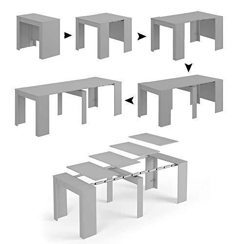 Esidra Tavolo Allungabile, Consolle Legno 235 cm, 4 Allunghe, 90 x 50 x 78 cm, Cemento, 235