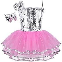 IEFIEL Justaucorps de Danse Classique Ballet Tutu Paillettés sans Manches  Enfant Fille ... 71d1f69b9c2