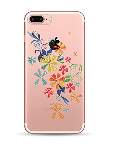 iPhone 7 Plus hülle vanki® Schutzhülle Blütenblatt Clear Case Cover Bumper Anti-Scratch TPU Silikon Handyhülle für iPhone 7 Plus(5,5 Zoll) (J) I