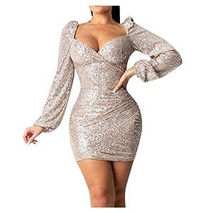 Allegorly Damen Sexy Bodycon Hohe Taille Etuikleid Wickelkleid V-Ausschnitt Laternenärmel Glänzend Paillettenkleid…