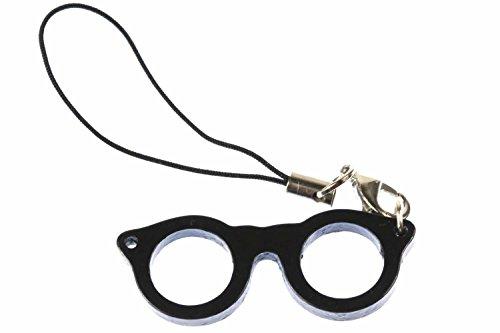 Miniblings Brillen Handyanhänger Anhänger Brille Nerd Hipster Woody schwarz