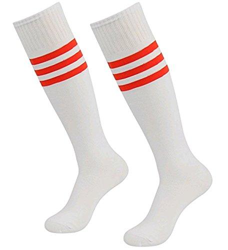 LAAT Damen Männer Kniestrümpfe Ladies College Socks Socken mit Streifen für Frauen Überkniestrümpfe in Elastisch Strümpfe Cheerleading (Rot2)