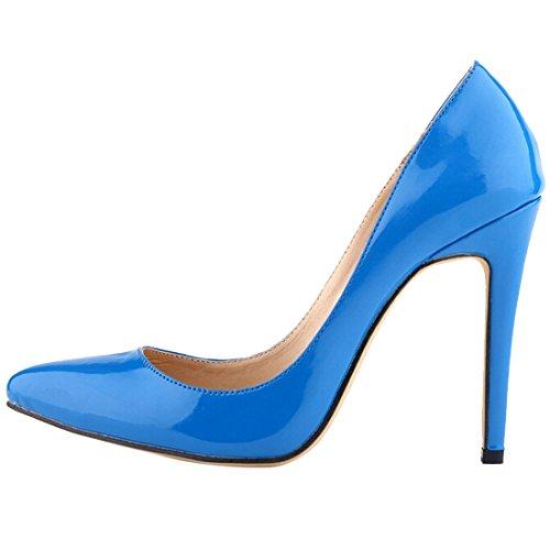 Oasap Damen Einfarbige Pfennigsabsätzen Pumps Sky Blue