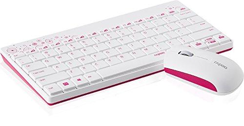 Rapoo 8000 kabellose Tastatur mit Maus (2,4 GHz Wireless Combo Set, optisch, 1000 DPI, Nano-USB, 12 Monate Batterielaufzeit, QWERTZ deutsches Layout)  weiß - 2
