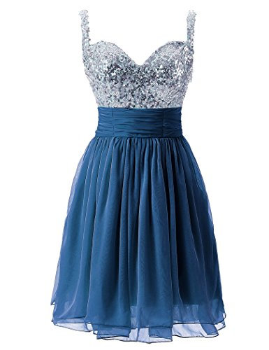 Sarahbridal Women Short Chiffon Wedding Party Homecoming Dress with Sequins Prom Dress for Teenagers SSD016 Deep Blue Size UK14