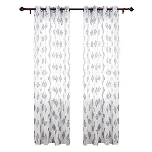 Deconovo tende trasparenti voile ricamate a fogli con occhielli grigio per soggiorno 140x245 cm due pannelli