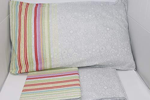 Caleffi Bettwäsche-Set für Einzelbett, Art. Malibù aus Reiner Baumwolle Grigio 022 - Malibu-set Bett