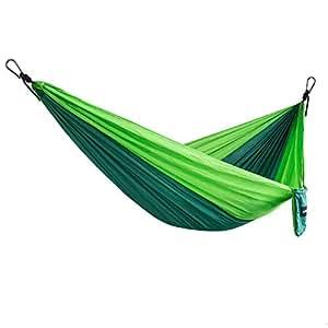 Hamac Ultra-Léger de Voyage Camping, 400lbs Capacité de Charge, (270 x 140 cm) Portable Respirante Nylon à Parachute 2 Personnes Hamacs pour Jardin D'interieur Extérieur (Vert)