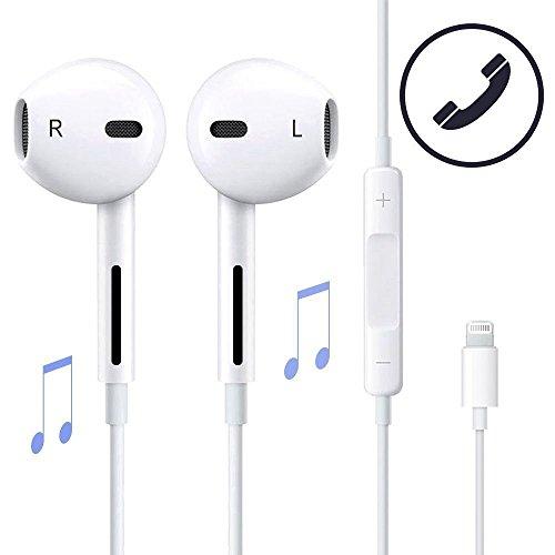 Lightning Apple Earpods/Kopfhörer/Ohrhörer, Kopfhörer mit Mikrofon und Lautstärkeregler für Apple iPhone 7/7 Plus/8/8 Plus/X - (Unterstützt alle iOS-System) (Bluetooth-Konnektivität) -Weiß