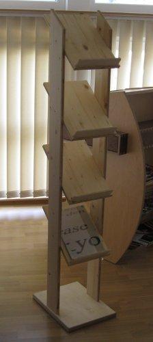 LINLAY Intarsien & Gravuren Prospektständer - Messeständer aus Holz - Fichte-Schichtholz