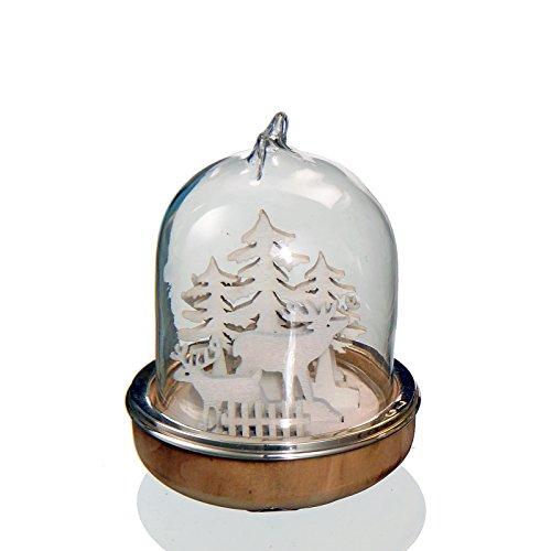 Cloche verre interieur cerbiatto . Base en bois avec silver plated