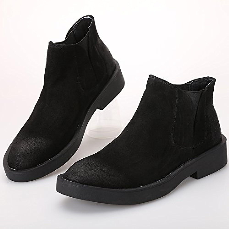 hohe hilfe freizeit   schuhe  chelsea boots  leder kurze stiefel  um kopf und hohen schuhen helfen schwarz 40