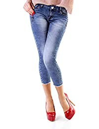 d4c8f5157617 Fashion4Young 10340 Damen Jeans Röhre Skinny 7 8-Jeans Damenjeans Stretch  Denim Ankle Slim
