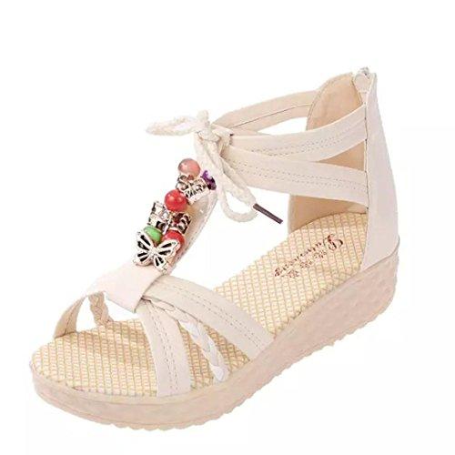Transer 2016 1Pair Linda mujer ocasional peep-toe de la hebilla plana sandalias de los zapatos de las mujeres del verano (38, Blanco)