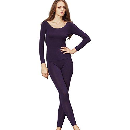 Liang Rou Damen U-Außchnitt Stretch dünnes Unterwäsche Set, Leggings und Langarmshirt (Pyjama-hose John Long)