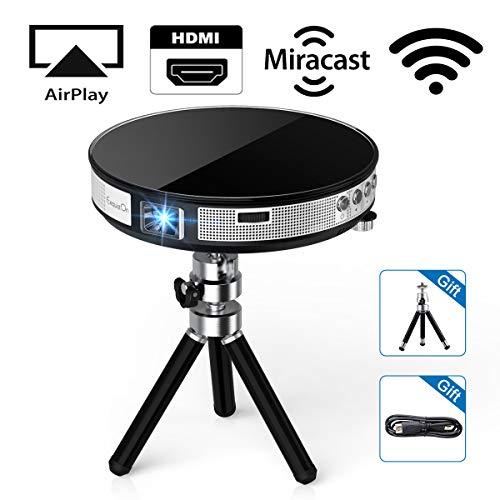 ExquizOn DLP Beamer Mini Video Projektor Pico Tragbar, WiFi 4000mAh Wiederaufladbar 100 Zoll R6, HDMI USB Micro-SD Audio, inkl. kostloses Stativ 1080P für Handy Smartphone Heimkino Party Familie