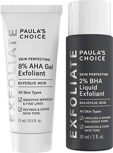 Paula's Choice SKIN PERFECTING 8% AHA Gel Exfoliant & 2% BHA Liquid Travel Duo Facial Exfoliants for Blackheads & Wrinkles Face Exfoliators w/Glycolic Acid Salicylic Acid - Aha Gel