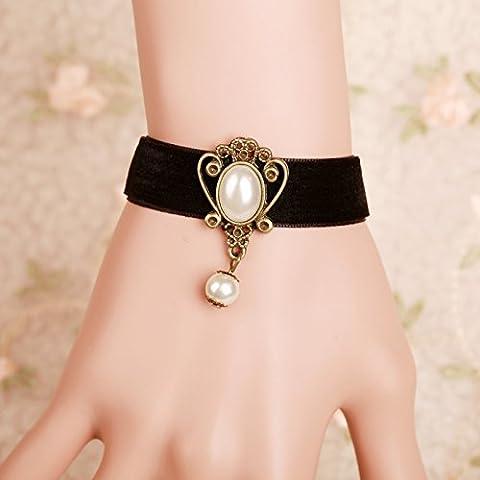 Leyu Fashion Wang Retro Royal Black Velvet delicato Gioielli Perla