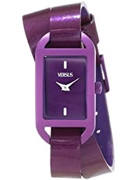 Versus by Versace Women's SGQ060013 Ibiza Rectangular Purple Aluminum Case Leather Strap Patent Top Watch