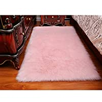 DQMEN Faux Fur Rug White Soft Fluffy Rug Shaggy Rugs Faux Sheepskin Rugs Floor Carpet for Bedrooms Living Room Kids Rooms Decor