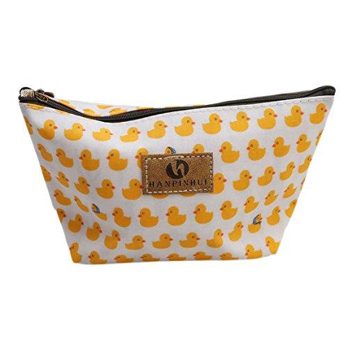 ODN Gelb Ente Schminkbeutel Kosmetik-Tasche Täschchen Federmappe Geschenk Beutel Mädchen -