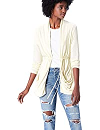 FIND Women's Cardigan in Jersey with Ruched Back-Tie