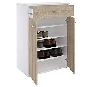 CARO-Möbel Schuhschrank Grenoble Schuhkommode Schuhablage mit 1 Schublade und 2 Türen, 4 Einlegeböden in weiß/Sonoma Eiche