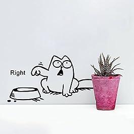 Hilai Funny Cartoon Cat vinyl auto serbatoio da parete adesivi di ciotola gatto adesivi decalcomanie carta da parati