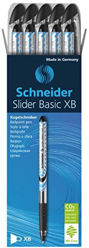 Schneider Slider Basic Kugelschreiber (Kappenmodell mit Soft-Grip-Zone und der Strichstärke XB=Extrabreit, dokumentenechte Tinte) 10er Packung schwarz