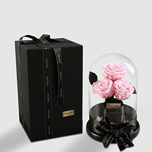 Boîte de cadeau fleur éternelle,Roses en verre ornements Fleurs artificielles Fleurs Le jour de noël Décoration-L
