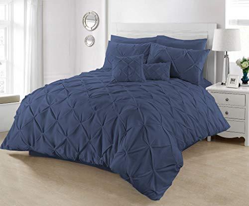 SeventhStitch Bijoux Pour Tous Bettwäsche-Set mit Kissenbezügen, 100% Perkal-Baumwolle, für Einzelbett, Doppelbett, King-Size, Super-King-Size-Bett-Sets, Navy, Doppelbett (Navy Blue Kingsize Bettbezug)