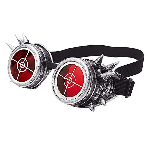 VRTUR Steampunk, Schweißer Brille, Party - Accessoire, Kostüm, Karneval - Zubehör, Messing - Optik, verstellbar Steampunkbrille (One size,B)