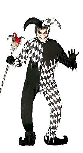 schwarz weißes Harlekin Clown Kostüm für Herren Gr. M/L, (Joker Kostüme Harlekin)