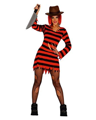 Gestreiftes Frau Krüger Halloween Kostümkleid für Damen L (Frau Krüger Halloween Kostüme)