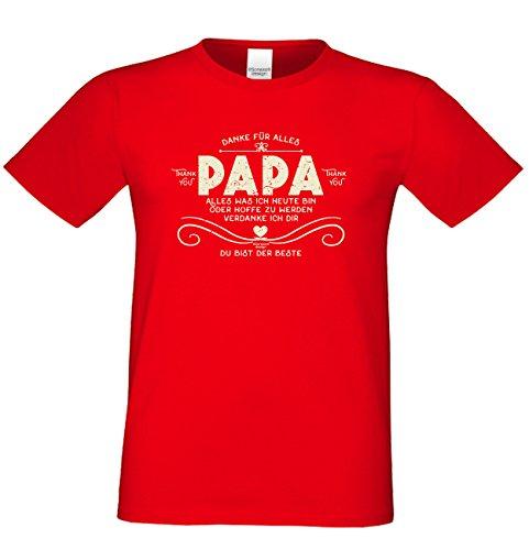 Geschenk Idee, Geburtstagsgeschenk Vater T-Shirt Funshirt Danke Papa zum Vatertag, Geburtstag auch in Übergröße Farbe: rot Rot
