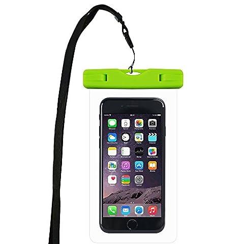 WindTeco Certifiée IPX8 Pochette Sac étanche Universel Waterproof Case Bag Housse Coque Etui pour Smartphones de Taille Égale et Inférieure à 6'', idéal pour natation, la plage, pêche, la randonnée, (Vert)