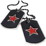 """AnaZoz Acero Inoxidable Rojo Negro Colgante Collar Para Hombres Army Estrella Etiqueta de Perro 27"""" Link"""