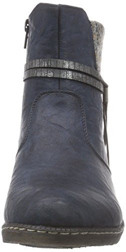 Rieker 93780, Bottes femme Bleu (nightblue/graphit/graphit / 14)
