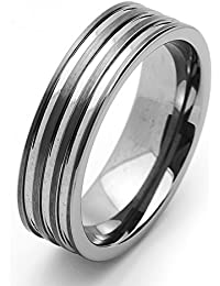 Little Treasures 8MM Comfort Fit Tungsten Carbide Wedding Band Grooved Flat Ring For Men & Women Cobalt Free