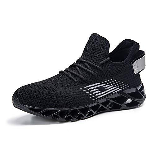 Herren Laufschuhe Fitness straßenlaufschuhe Sneaker Sportschuhe atmungsaktiv Rutschfeste Mode Freizeitschuhe (Schwarz,42)
