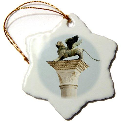 3drose Orn _ 82161_ 1geflügelten Löwe Statue, Saint Mark, Piazzetta, Venice. italy-eu16pri0186-prisma-snowflake Ornament, 3Zoll, Porzellan
