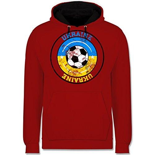 Fußball - Ukraine Kreis & Fußball Vintage - Kontrast Hoodie Rot/Schwarz