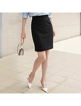 WFL Las señoras de cintura alta faldas mujeres paso vestidos rodilla negro delgado paquete vestido de cadera,Negro,L