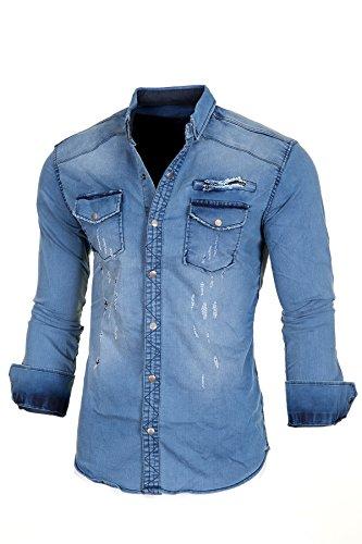 Jeanshemd Herren Hemd Jeans Slim Fit Used-Look Denim Polo Langarm Shirt Vintage Blau Blau