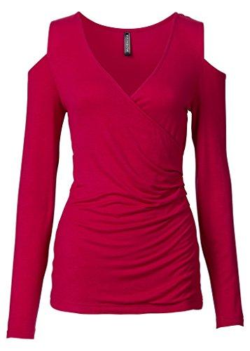Smile YKK Tops à Manches Longues Coton T-shirt Femme Col V Croix Sexy Chemisier Epaule Nue Rouge
