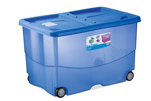 Kreher XL Aufbewahrungsbox, Rollbox aus Kunststoff in Transparent/Blau. Deckel zu Zwei Seiten...